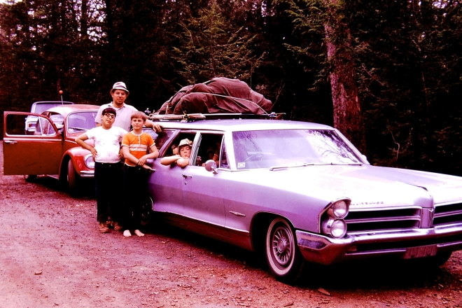 The Pontiac Bonneville Grand Safari station wagon my family owned in the 1960's, on it's way to a camping trip with friends